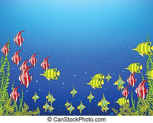Ocean Underwater World. Coral Reef with Alga and Fish. Vector.