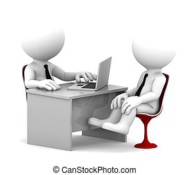 Office consultation. Isolated over white background