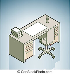 Office Desk (part of the Modern Furniture Isometric 3D Icons Set)
