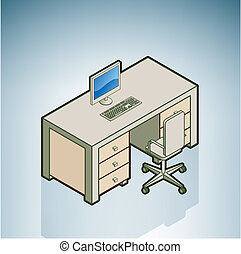 Office Desk with Chair (part of the Modern Furniture Isometric 3D Icons Set)