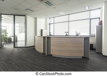Entrance to new modern office interior, reception