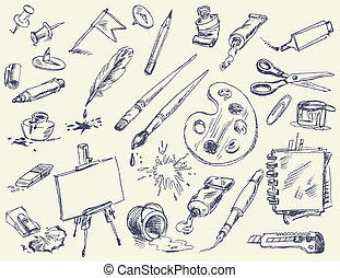 Office supplies. Products for Artists. Art supplies. Hand-drawn. Vector version of raster image