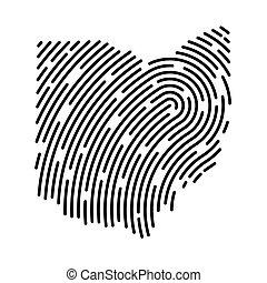 Ohio map filled with fingerprint pattern- vector illustration
