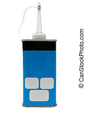 Blue oil can with space for your text. File contains clipping path.