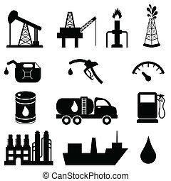 Oil and petroleum icon set