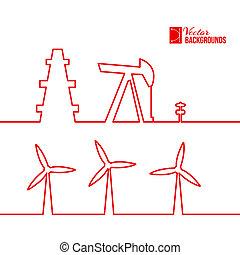 Oil pump jack silhouette design. Vector illustration.