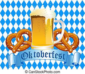 Oktoberfest Celebration Background with Beer and Pretzel