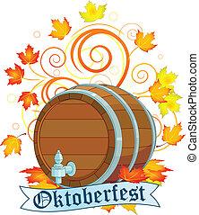 Decorative Oktoberfest design with beer keg