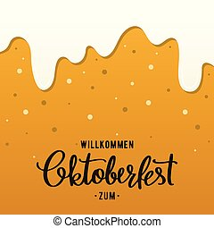 Oktoberfest flyer design template. Beer background with foam and bubbles.