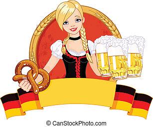 Illustration of funny German girl serving beer