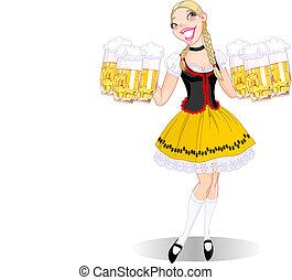 Vector illustration of funny German girl serving beer