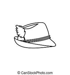 Oktoberfest tirol hat in outline style isolated on white background vector illustration