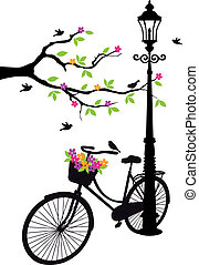 old bicycle with lamp, flowers and tree, vector background illustration