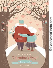 Old couple in love walking