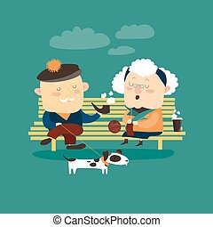 Old couple sitting on bench