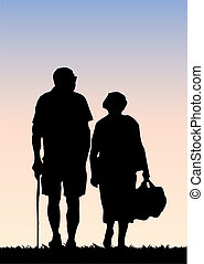Old couple walking
