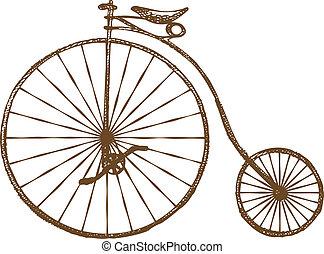 Hand-drawn old fashioned bicycle, retro bike