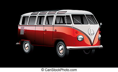 Red old-fashioned minibus isolated on white backgrounds. File contains gradients and blends.