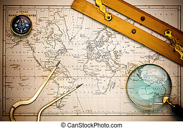 Photo of an old hand drawn 19th century map with navigational objects upon it, with vignetting. The map was drawn in 1844 and the countries are named as they were in that year.