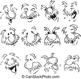 Vector set of old men facial expression in comic style