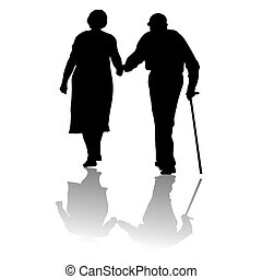 silhouette of an old couple keeping for hands
