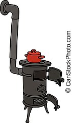 Hand drawing of an old small stove with a red pot
