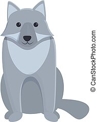 Old wolf icon, cartoon style