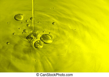 Yellow/green toned liquid with bubbles.