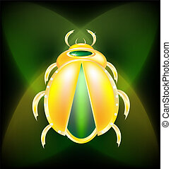 on a dark-green background is a large golden beetle
