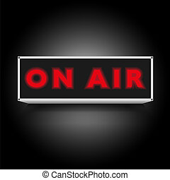 On Air Sign on Black Background
