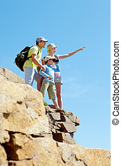 Portrait of family members looking afar outside while standing on cliff