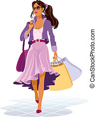 Girl with shopping bags on the sales, vector illustration.