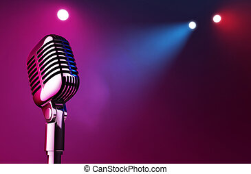 50s mic over stage light background.