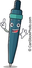 One Finger fountain pen Scroll in mascot cartoon character style