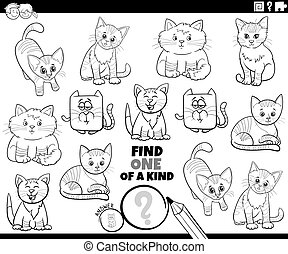one of a kind task with cute cartoon cats coloring book page