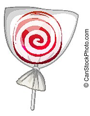 One piece of lollipop on white background
