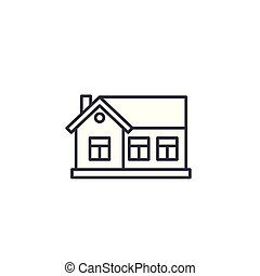 One-storey house linear icon concept. One-storey house line vector sign, symbol, illustration.