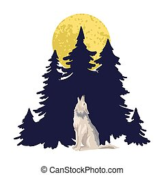 Wolf howls against the background of a dark forest. Wild beast in winter or at night. Vector character illustration. Lonely character concept, cover print design