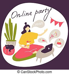 Online party. Girl wishes birthday to her friend and drinks cocktail. Home party during quarantine. Doodle flat vector illustration