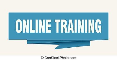 online training sign. online training paper origami speech bubble. online training tag. online training banner