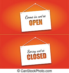 Open and Closed door signs board. Vector illustration.