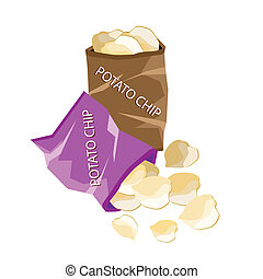Open Bag of Chips on White Background