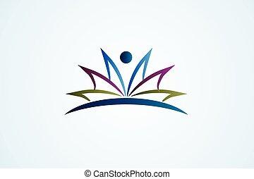 Open book figure education logo vector