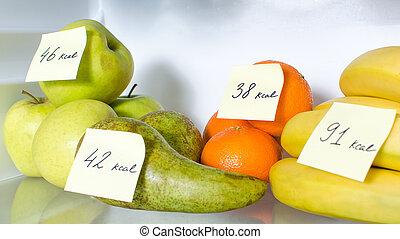 Open fridge full of fruits with marked calories