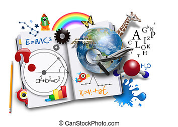 An open book has various math, science and space concepts coming out of it for a school or learning concept.