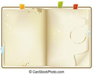 vector open old recipe book