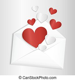 Opened envelope with hearts flying out