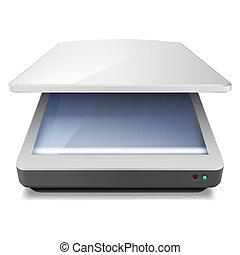 Opened Office Scanner. Illustration on white background
