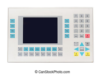 Picture of industial operator panel isolated on white background.
