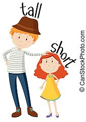 Opposite adjectives tall and short illustration